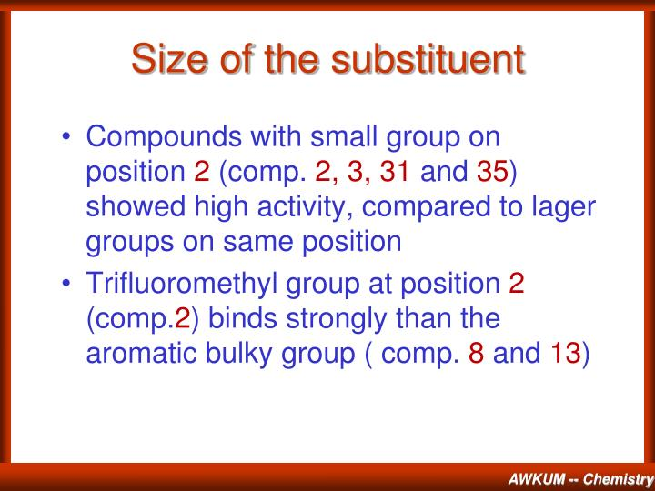 Size of the substituent