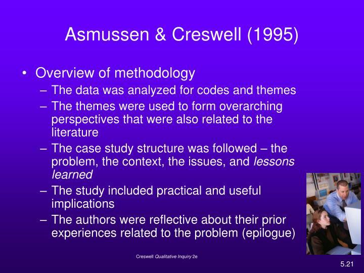 Asmussen & Creswell (1995)
