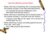 use the definite article the