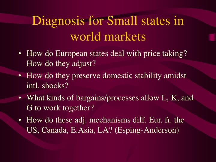 Diagnosis for small states in world markets