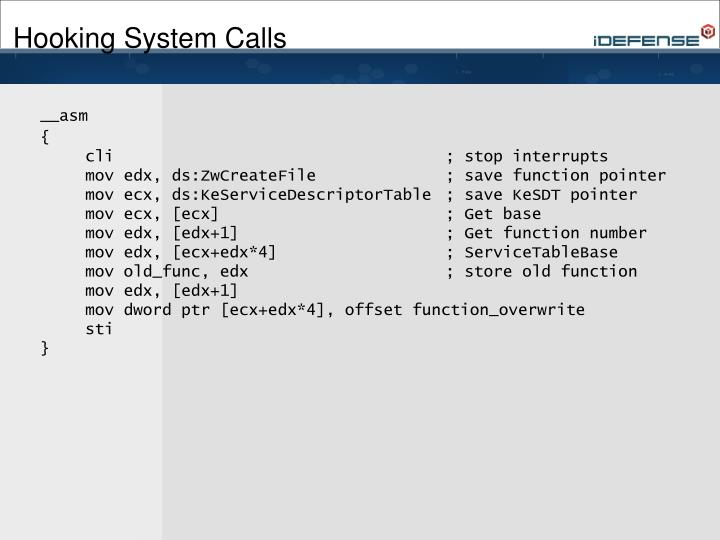 Hooking System Calls