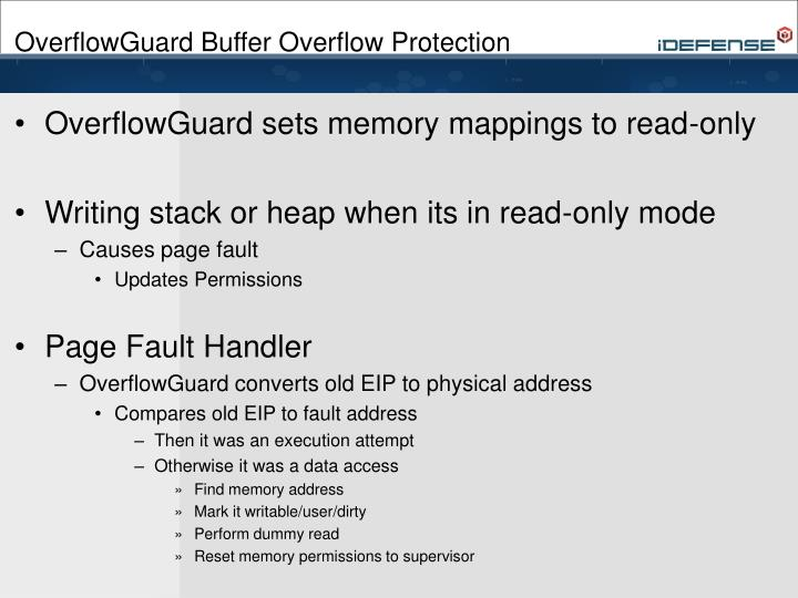 OverflowGuard Buffer Overflow Protection