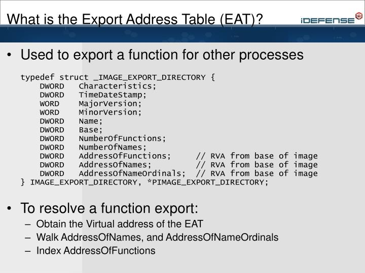 What is the Export Address Table (EAT)?