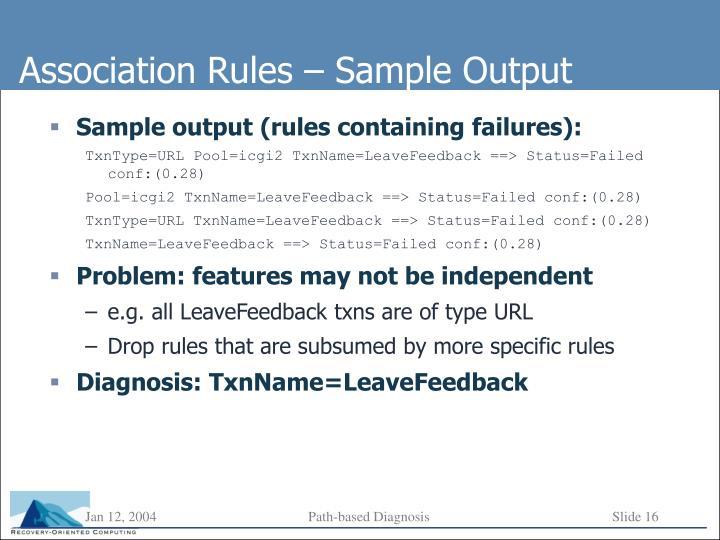 Association Rules – Sample Output