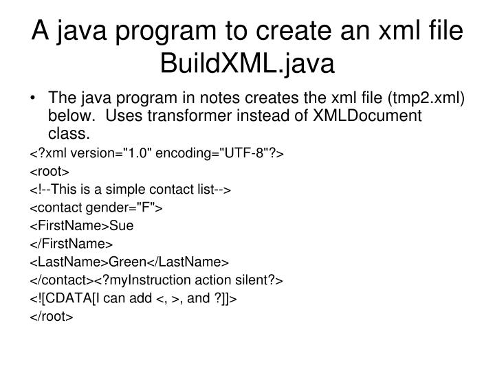 A java program to create an xml file