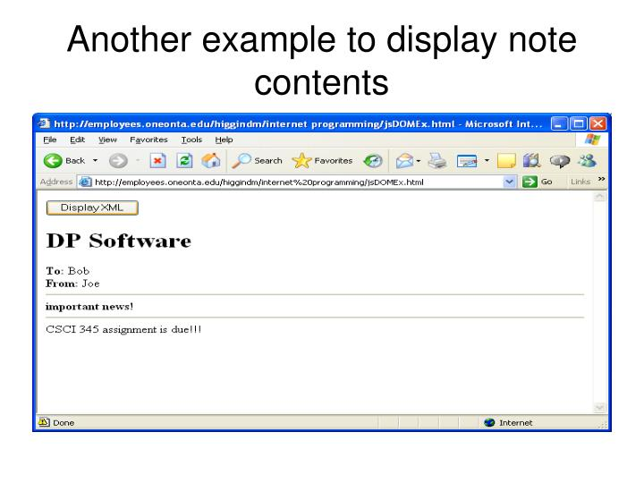 Another example to display note contents