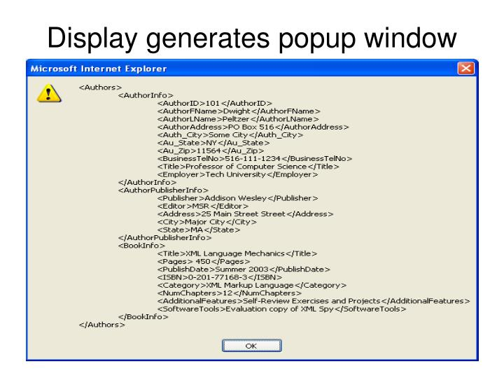Display generates popup window