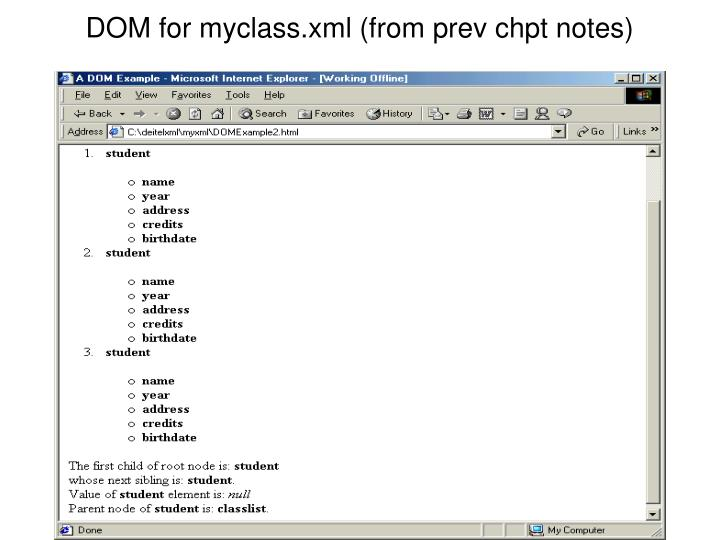 DOM for myclass.xml (from prev chpt notes)