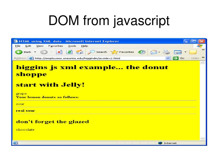DOM from javascript
