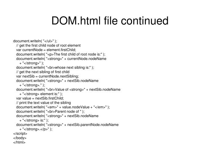 DOM.html file continued