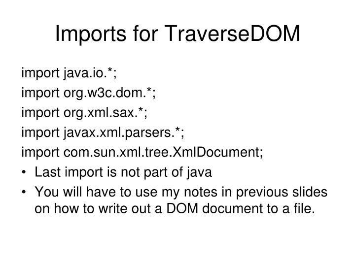 Imports for TraverseDOM