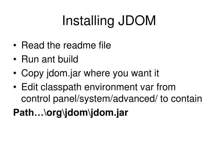 Installing JDOM