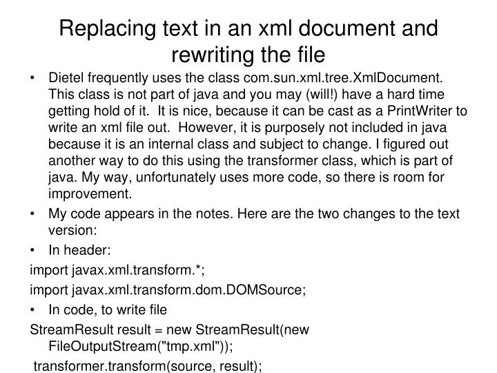 Replacing text in an xml document and rewriting the file