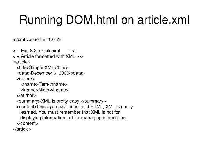Running DOM.html on article.xml