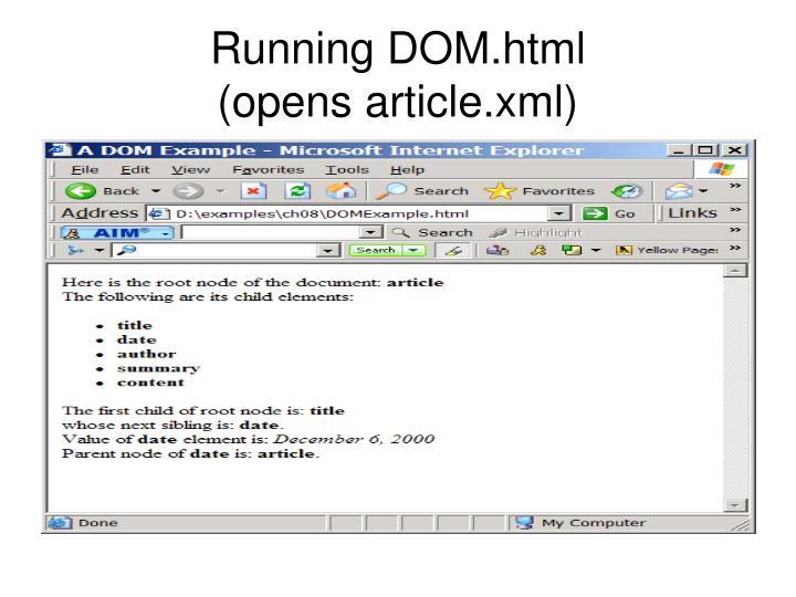 Running DOM.html