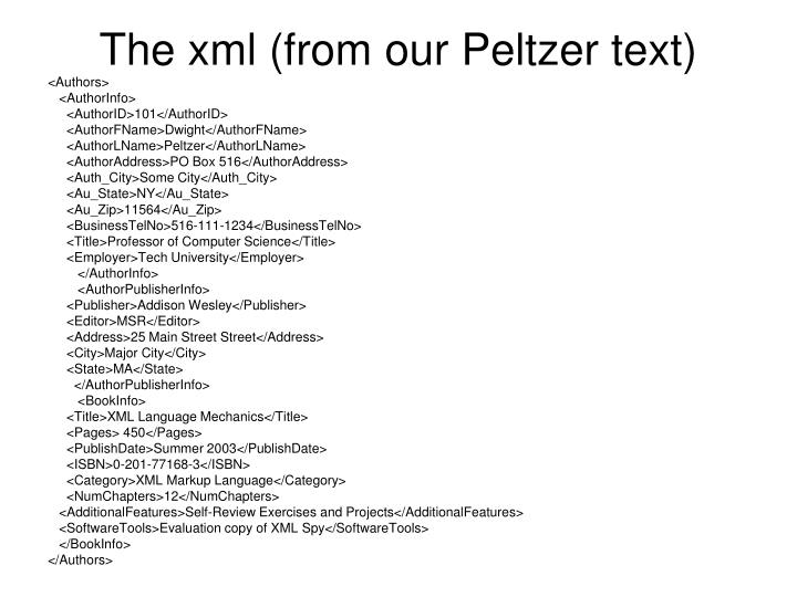 The xml (from our Peltzer text)
