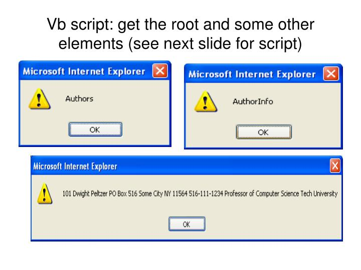 Vb script: get the root and some other elements (see next slide for script)