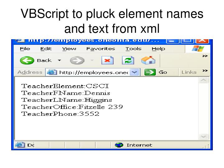 VBScript to pluck element names and text from xml