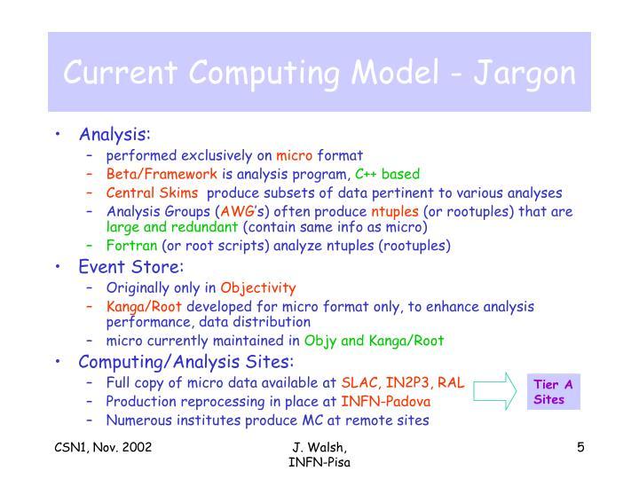 Current Computing Model - Jargon