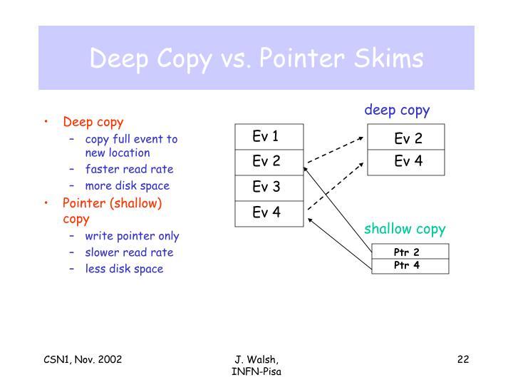 Deep Copy vs. Pointer Skims