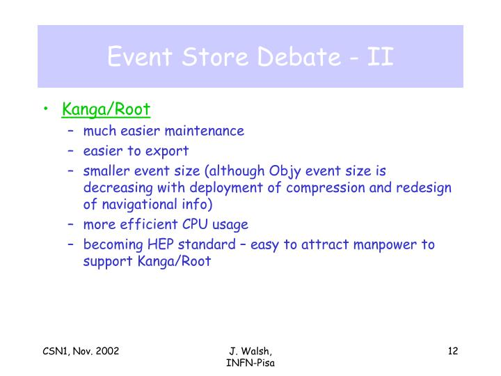 Event Store Debate - II
