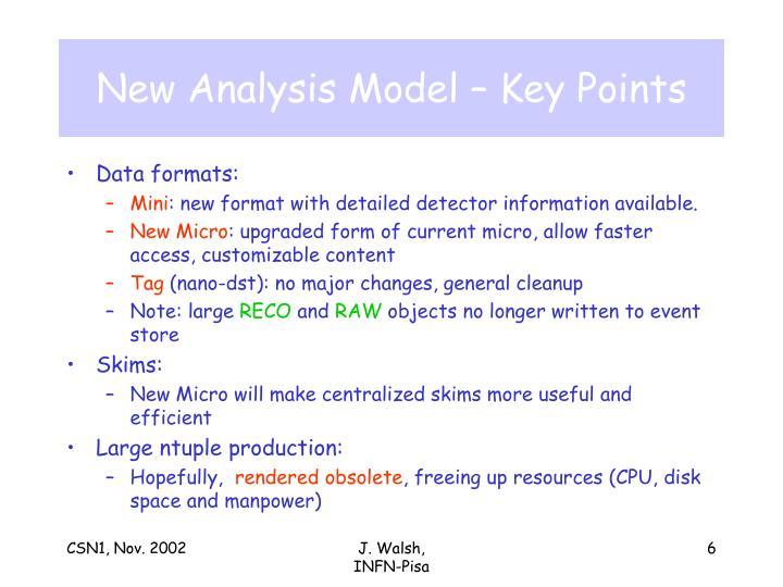 New Analysis Model – Key Points