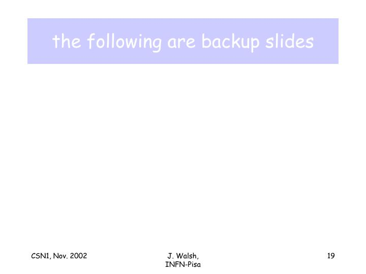 the following are backup slides