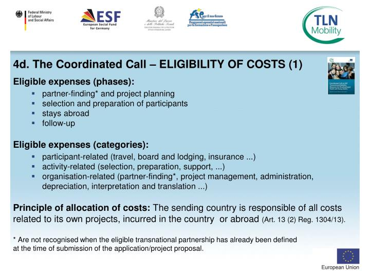 4d. The Coordinated Call – ELIGIBILITY OF COSTS (1)