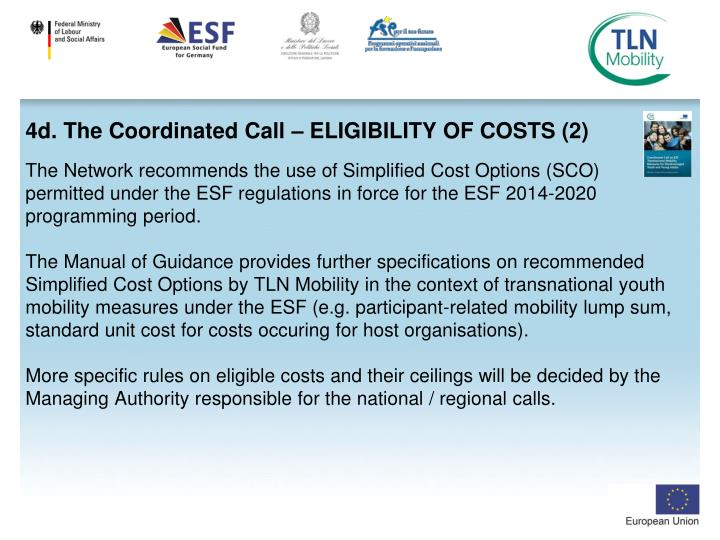 4d. The Coordinated Call – ELIGIBILITY OF COSTS (2)