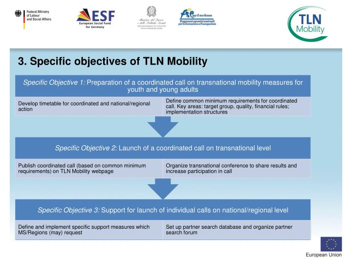 3. Specific objectives of TLN Mobility