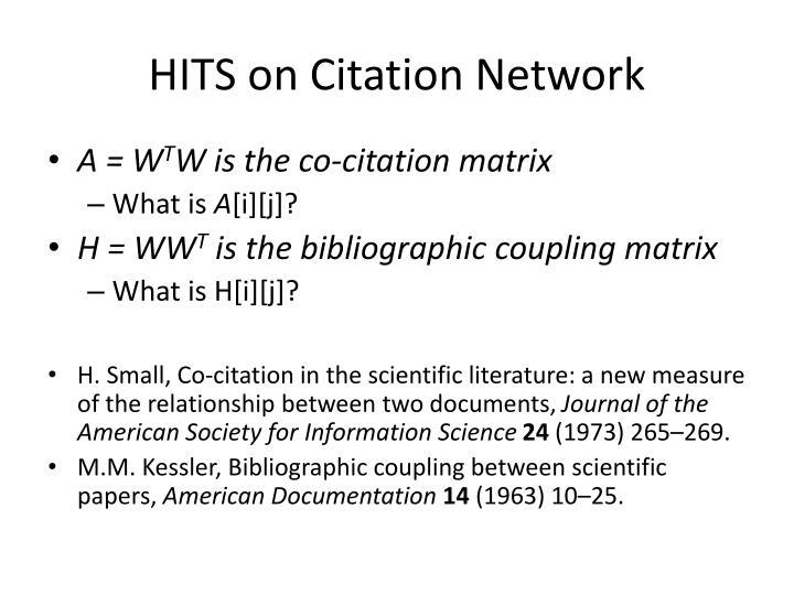 HITS on Citation Network