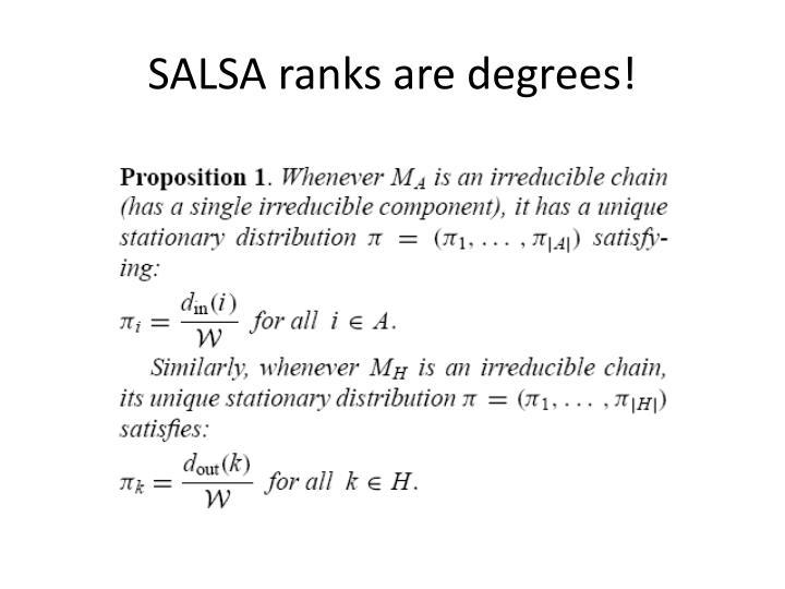 SALSA ranks are degrees!