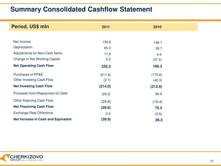 Summary Consolidated Cashflow Statement
