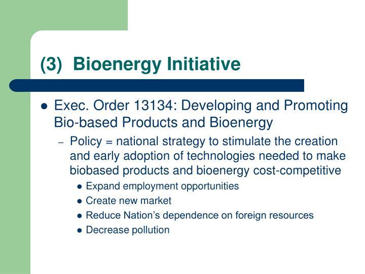 (3)  Bioenergy Initiative