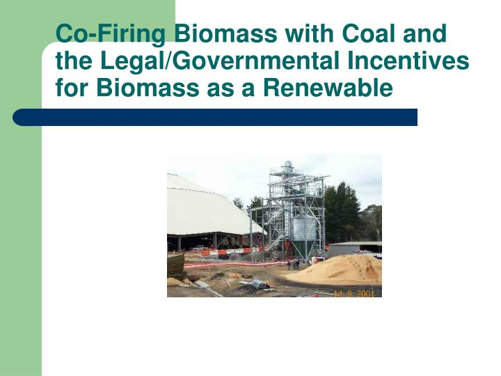 Co-Firing Biomass with Coal and the Legal/Governmental Incentives for Biomass as a Renewable
