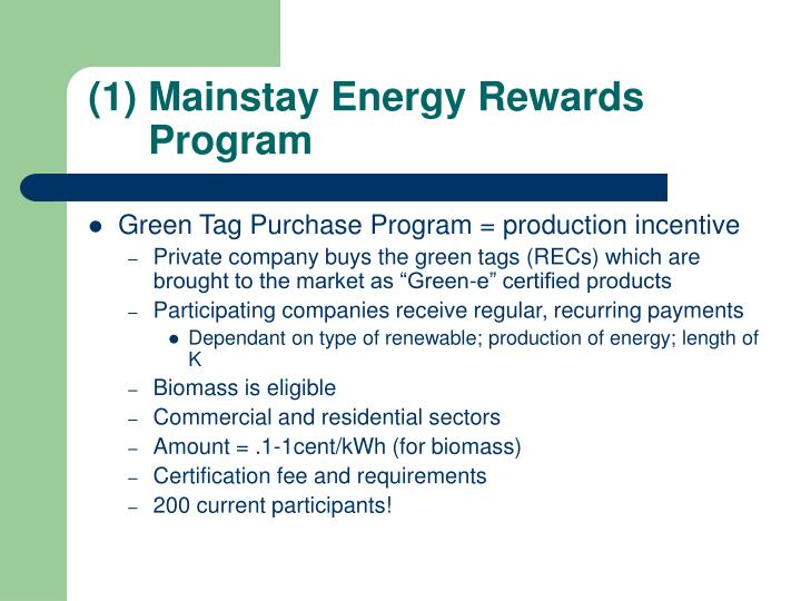 Mainstay Energy Rewards Program