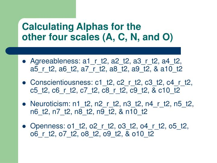 Calculating Alphas for the