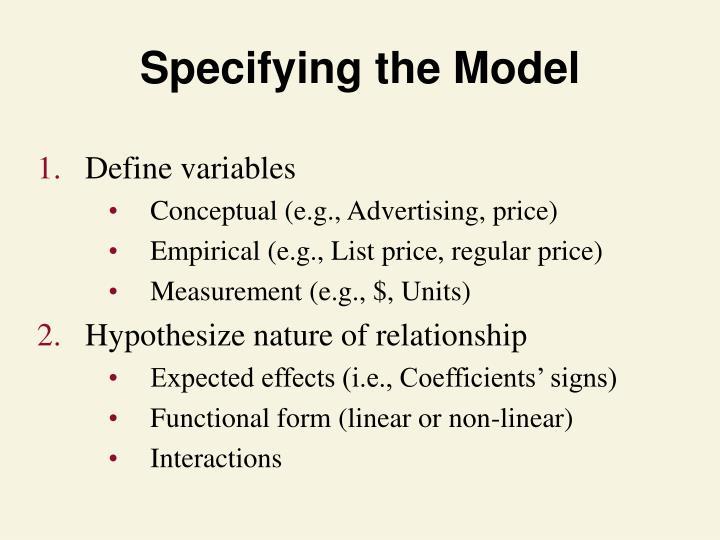 Specifying the Model