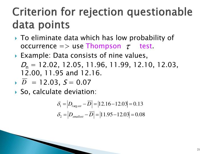 Criterion for rejection questionable data points
