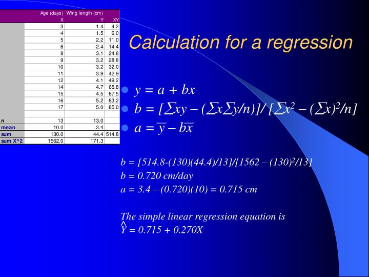 Calculation for a regression