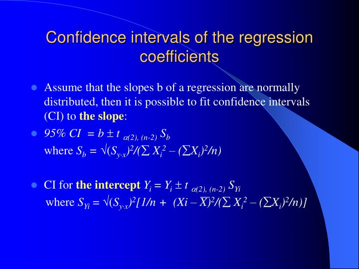 Confidence intervals of the regression coefficients