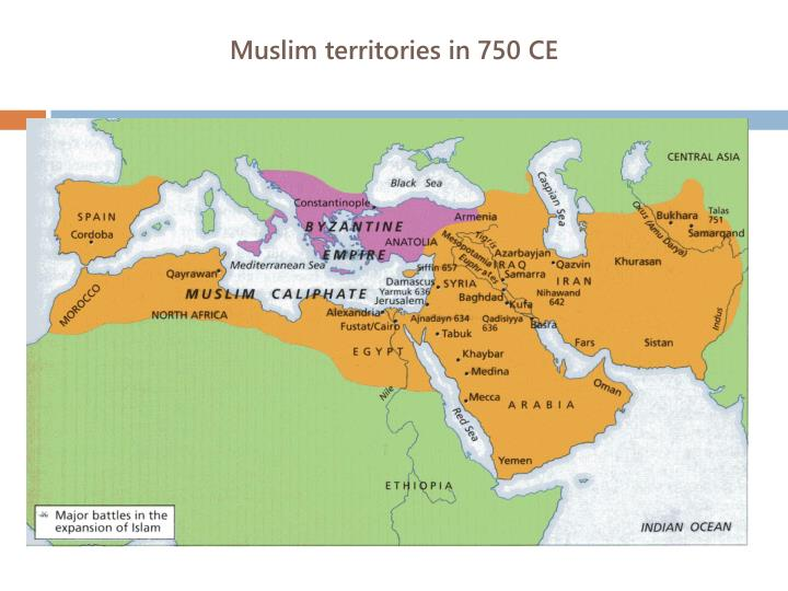 Muslim territories in 750 CE