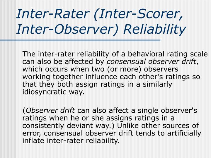 Inter-Rater (Inter-Scorer, Inter-Observer) Reliability