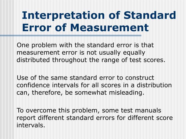 Interpretation of Standard Error of Measurement