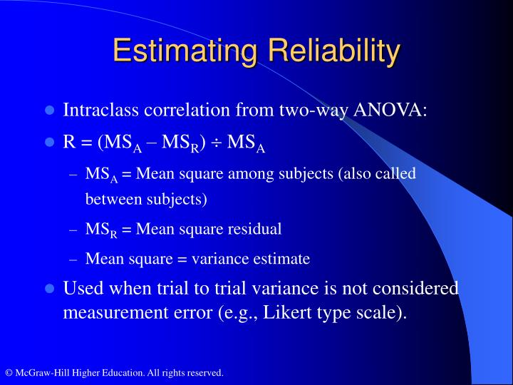 Estimating Reliability
