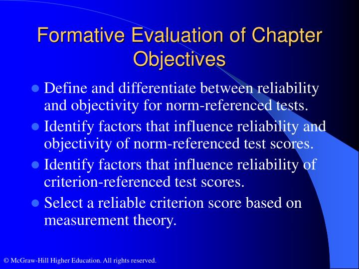 Formative Evaluation of Chapter Objectives