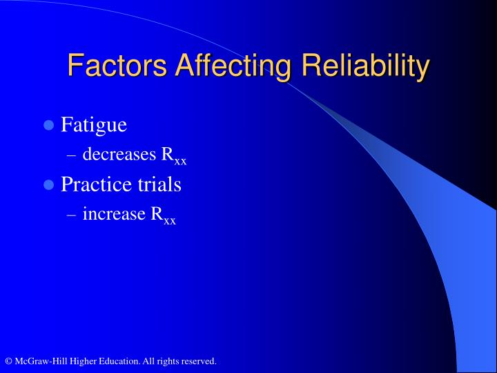 Factors Affecting Reliability