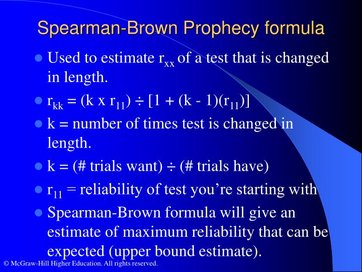 Spearman-Brown Prophecy formula