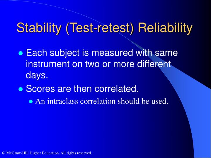 Stability (Test-retest) Reliability