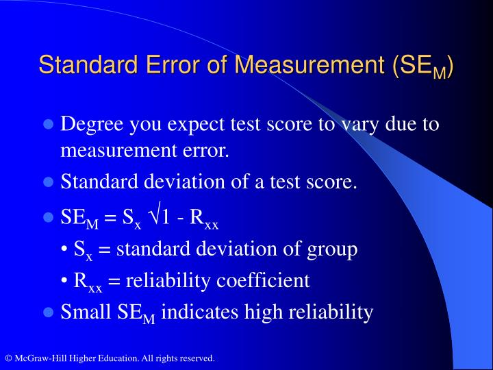Standard Error of Measurement (SE